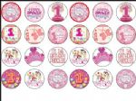 24 x Baby Princess Girls 1st Birthday Edible Wafer Rice Paper Cup Cake Toppers
